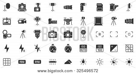 Photo Camera Silhouette Icon. Photography Cameras Shutter Speed, Aperture And Digital Camera Exposur