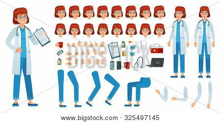 Cartoon Female Doctor Creation Kit. Medic Woman Kit, Healthcare Doctors Profession Character And Pha