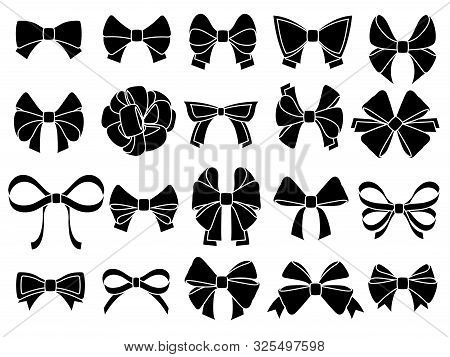 Decorative Bow Silhouette. Gift Wrapping Favor Ribbon, Black Jubilee Bows Stencil. Christmas, Annive