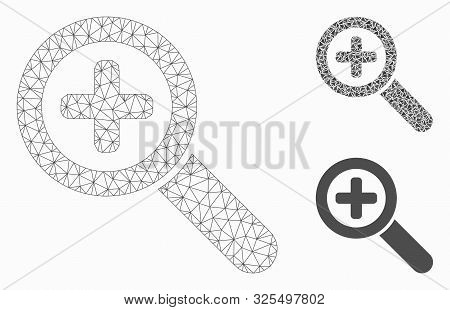 Mesh Zoom In Model With Triangle Mosaic Icon. Wire Frame Triangular Mesh Of Zoom In. Vector Mosaic O