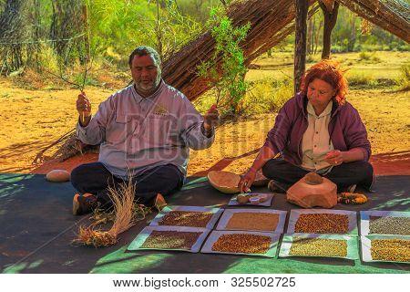 Kings Creek Station, Northern Territory, Australia - Aug 21, 2019: Australian Aborigines Show Bush S