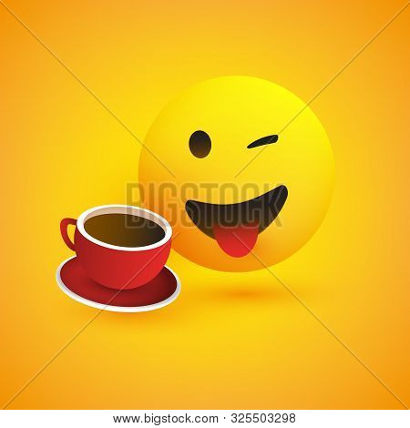 Smiling Emoji With Stuck Out Tongue - Simple Happy Emoticon With Winking Eye And A Cup Of Coffee On