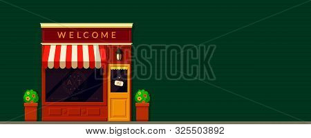 Shop, Storefront Facade Background In Retro Style. Local Business. Cafe, Restaurants, Bakery Buildin
