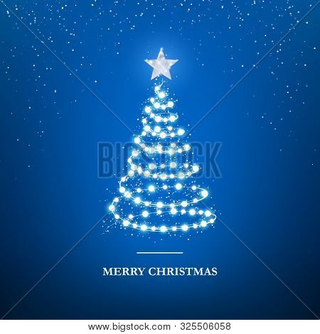 Merry Christmas Greeting Card Template. Garland In Form Of Christmas Tree With Star On Blue Backgrou