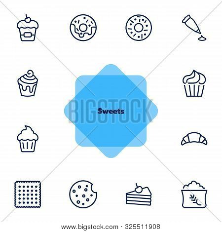 Sweets Line Icon Set. Set Of Line Icons On White Background. Confectionery Concept. Donut, Cupcake,