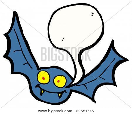 cartoon bat with speech bubble poster