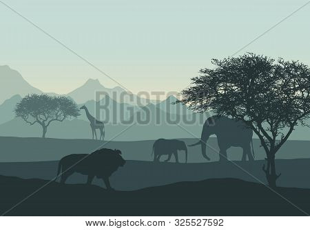 Realistic Illustration Of Mountain African Landscape And Safari With Animals And Trees. Elephant Wit