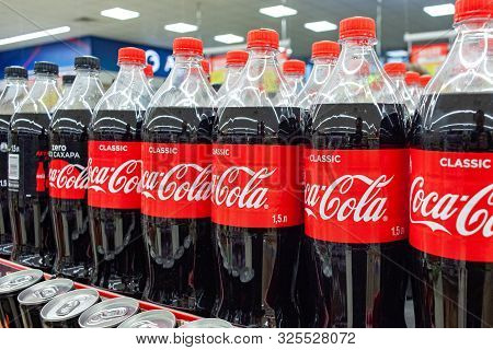 Minsk, Belarus - September 26, 2019: Coca Cola Products On Display In A Grocery Store. Coca Cola Com