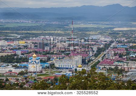 Yuzhno-sakhalinsk, Russia - August 30, 2019. View From Mount Bolshevik To Victory Avenue, City And S