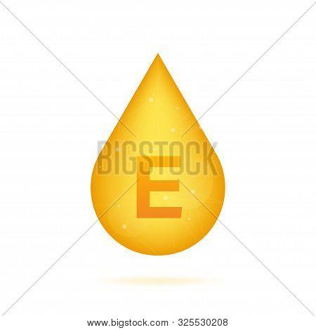 Vitamin E gold shining icon. Ascorbic acid. Vector illustration poster