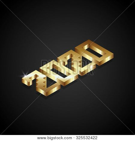 2020 Number 3d Golden Isolated On Black Background, Number For Calendar, Happy New Year 2020,2020 Be