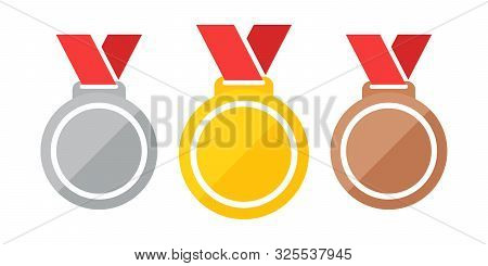 Medals Vector Illustration Eps 10. Set Of Medals Gold, Silver, Bronze. Gold, Silver And Bronze Medal