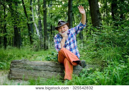 Person Purported Magical Abilities. Woodman Magician Concept. Folk Magic. Mature Man With Beard In H