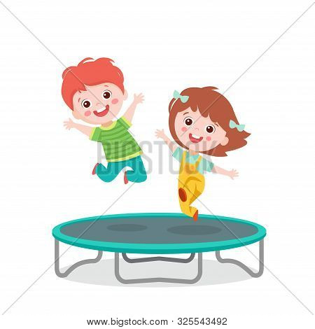 Cartoon Children Jumping On Trampoline On White Background Vector Illustration. Happy Girl And Boy J