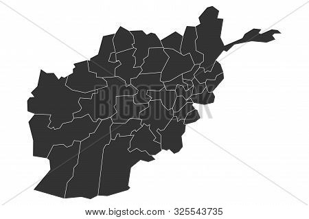 Afghanistan Map Provinces With Boundaries Outline Vector Illustration
