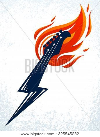 Electric Guitar Headstock On Fire In A Shape Of Lightning, Hot Rock Music Guitar In Flames And Bolt,
