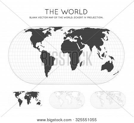 Map Of The World. Eckert Iv Projection. Globe With Latitude And Longitude Lines. World Map On Meridi
