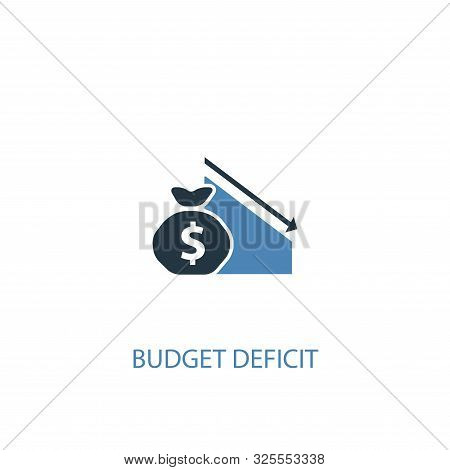 Budget Deficit Concept 2 Colored Icon. Simple Blue Element Illustration. Budget Deficit Concept Symb