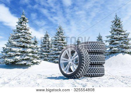 Snow Tires On Winter Landscape Background 3d Render