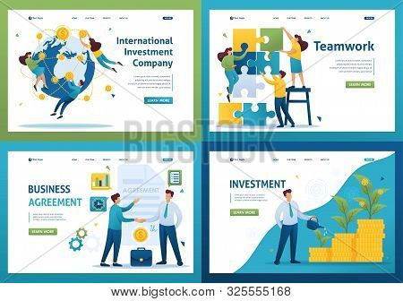 poster of Set Flat 2D concepts teamwork, investment company, investment and growth, business agreement.. For Landing page concepts and web design.