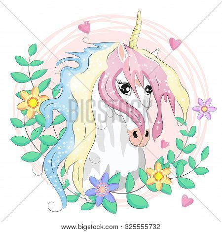 Unicorn Face. Beautiful Pony Unicorns Faces, Magic Horn In Rainbow Flower Wreath And Pony Cute Eyela
