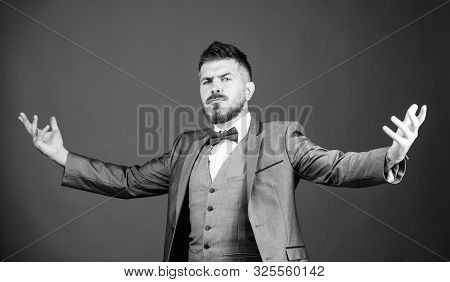Elegant and charming. bearded man in formal suit. esthete. stylish art director. business in modern life. mature illusionist. Bride groom ready for wedding. businessman with beard in bow tie poster