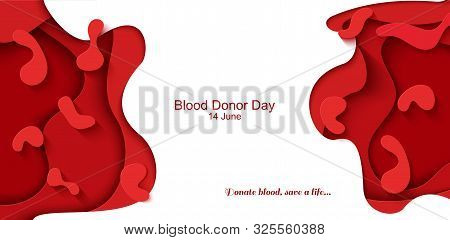 World Blood Donor Day 14 June Vector Paper Cut Poster. Papercut Red Cell And Abstract Blood Drop. Ve