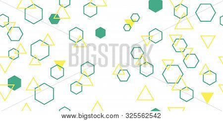 Seamless Pattern From Different Poligons. Triangles And Hexagons. Vector Illustration. Isolated Elem
