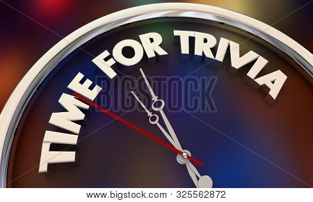 Time for Trivia Contest Game Clock Words 3d Illustration