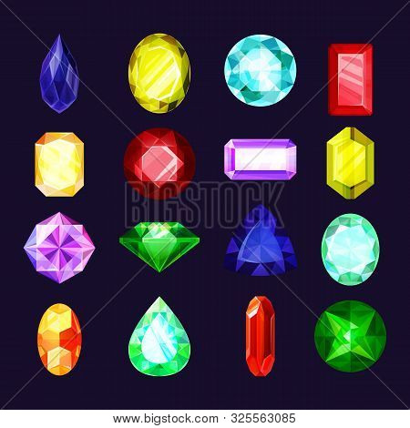 Gem Crystals And Jewel Stones Vector Flat Cartoon Icons, Shiny Colorful Diamonds And Rhinestones Set