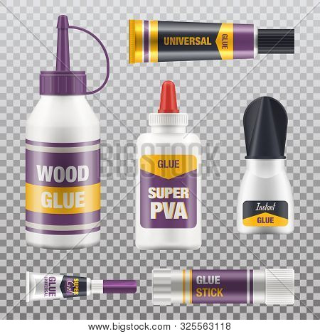 Glue Tubes And Different Adhesives Package, Vector Isolated Realistic 3d Mockups For Branding. Unive