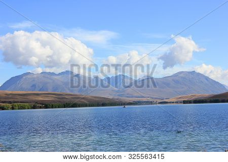 Panorama of lake alexandrina in canterbury, new zealand