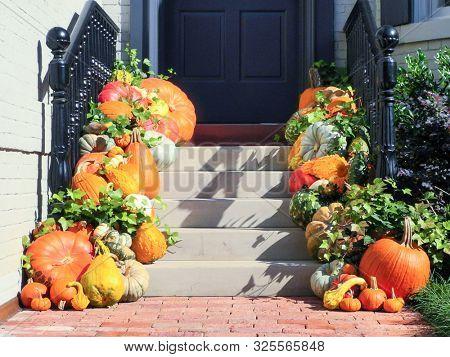 Pumpkins in front of the door during  Halloween