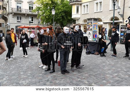 Zurich, Switzerland 09.29.2019: Anonymous For The Voiceless, Members Of The Cube Of Truth Vegan Prot