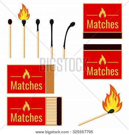 Matches Flat Design Set Vector Illustrations Burning Matchstick On Fire, Burnt Matchstick Isolated O