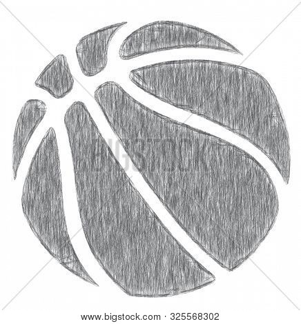 Hand drawn, pencil sketched basketball icon. Old style illustrated sketch of a basketball on a white background
