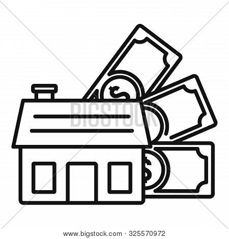 House Money Mortgage Icon. Outline House Money Mortgage Vector Icon For Web Design Isolated On White