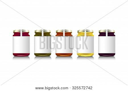 Glass Jars With With Jam, Configure Or Honey. Vector Illustration. Packaging Collection. Label For J