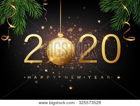 2020 Happy New Year. Gold Numbers Design Of Greeting Card Of Falling Shiny Confetti. Gold Shining Pa
