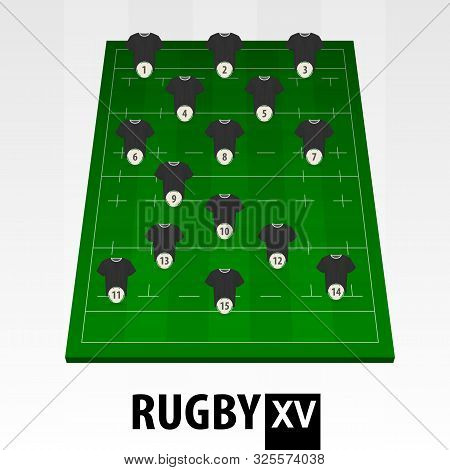 Rugby Player Position On Green Rugby Field. Vector Rugby Illustration.