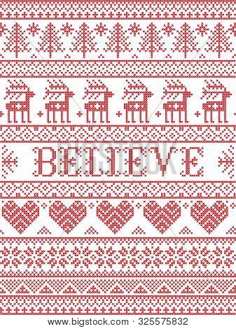 Believe Christmas Vector Pattern With Scandinavian Nordic Festive Winter Pattern In Cross Stitch Wit