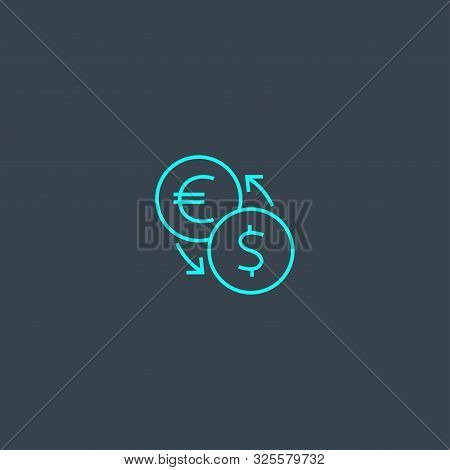 Currency Converter Concept Blue Line Icon. Simple Thin Element On Dark Background. Currency Converte