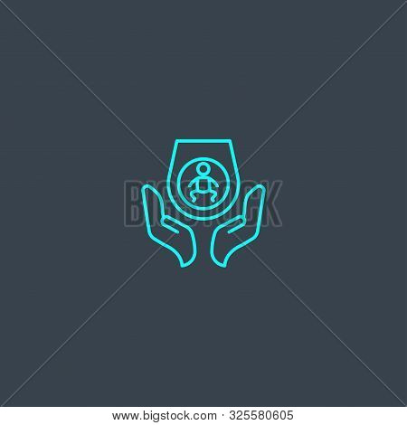Prenatal Care Concept Blue Line Icon. Simple Thin Element On Dark Background. Prenatal Care Concept