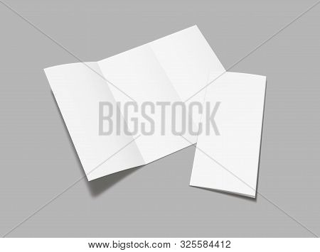 Blank  Flyer Tri Fold Mockup. Realistic Flyer, Booklet  Mock Up On Gray Background.  Vector Illustra