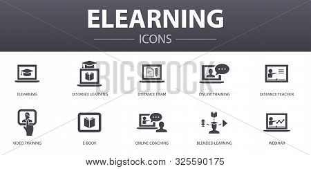 Elearning Simple Concept Icons Set. Contains Such Icons As Distance Learning, Online Training, Video