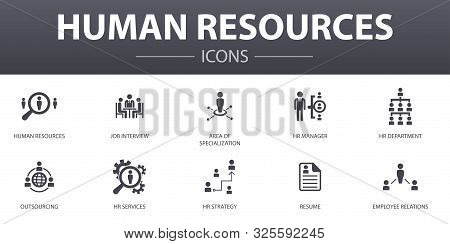 Human Resources Simple Concept Icons Set. Contains Such Icons As Job Interview, Hr Manager, Outsourc