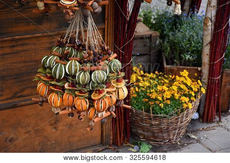 Decorations Made From Dried Fruits, Dry Flowers On An Advent Street Market At Deak Square In Budapes