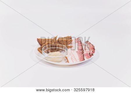 Sliced Pork Lard. Sliced Bacon. Fat, Tallow, Grease, Bacon. Isolate White