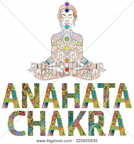 Anahata Chakra. Vector Zentangle Object For Decoration