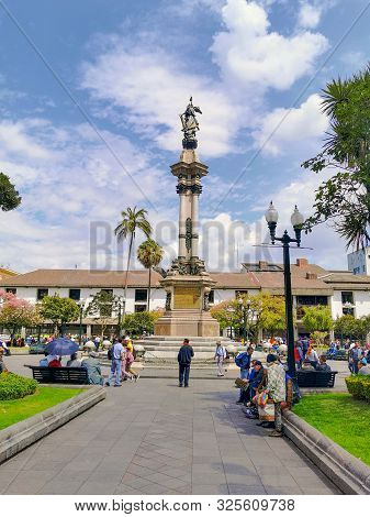 Quito, Ecuador, September 29, 2019: View Of The Historic Centre Of Quito, Ecuador. Proclaimed By The